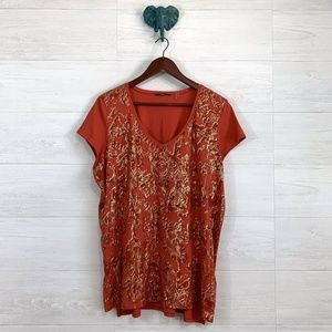 Tahari 2X Orange Gold Foil Graphic Print Tee Shirt